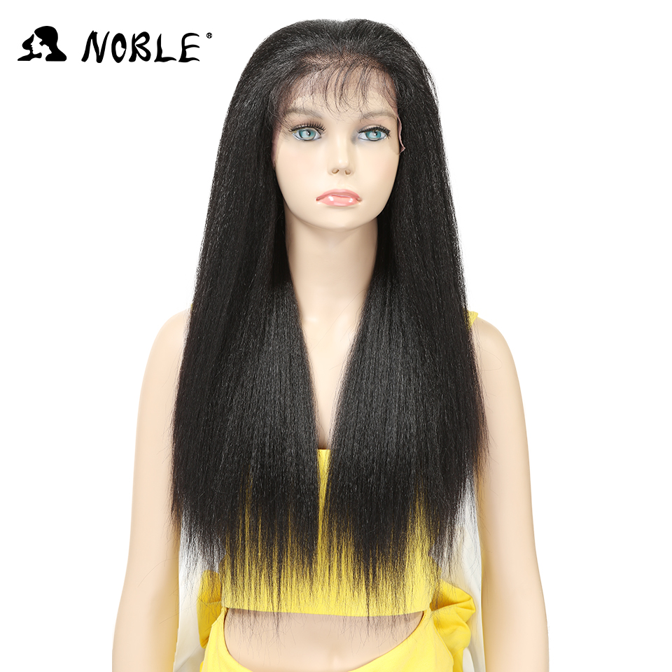 Noble Synthetic Lace Front Wigs For Black Women Yaki Straight Long 26inch 65cm Afro Lace Wig Baby Hair Heat Resistant Fiber