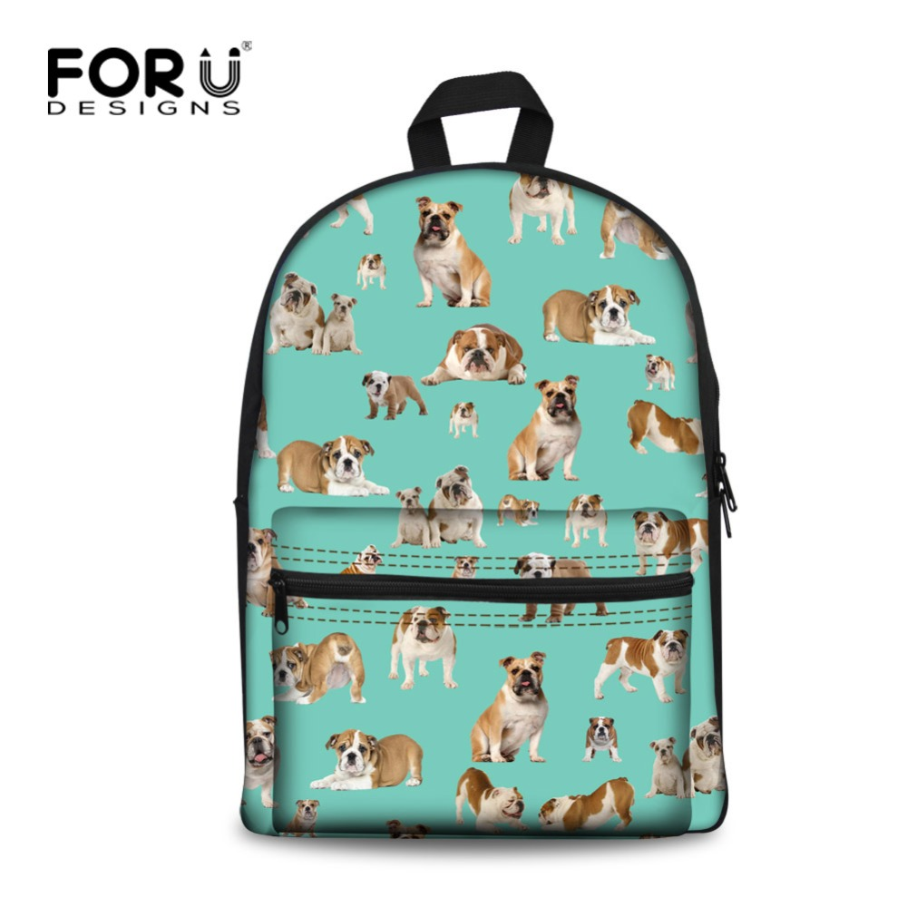 FORUDESIGNS Cute Animal Printing Schol Backpack for Teenagers Children Canvas Backpack Dog Casual Women Kids Rucksack