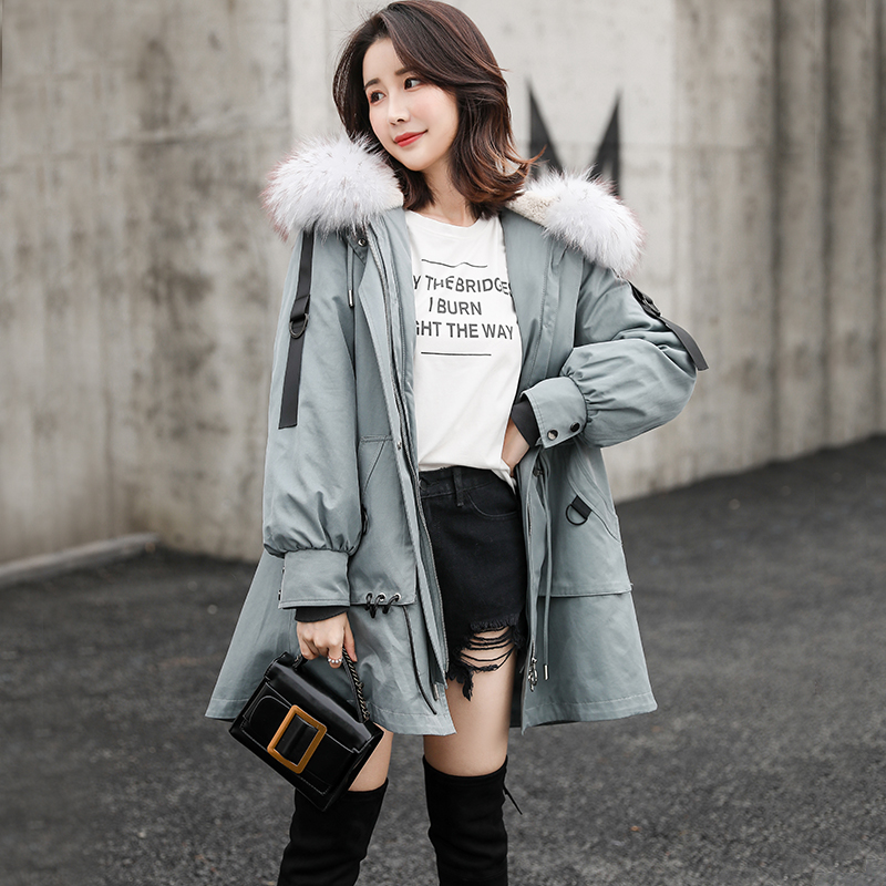 Real Fur Coat Women Rabbit Fur Liner Parka Winter Coat Women Windbreaker Womens Clothing Abrigos Mujer Invierno 2019 FX551 YY713