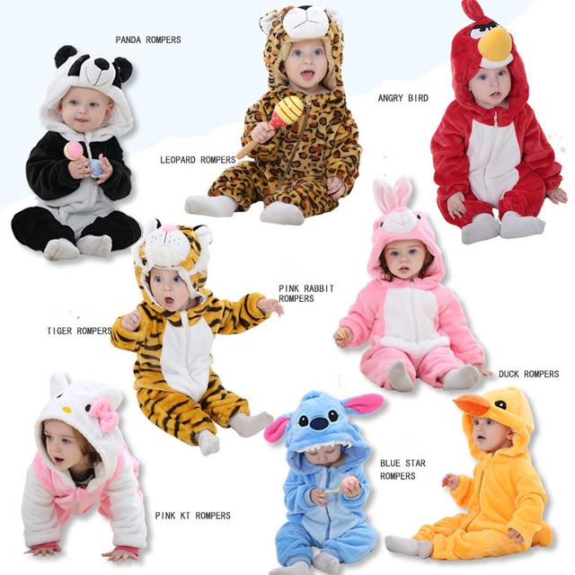 ESTACIÓN DEL CABRITO Del Gatito Panda Tiger mamelucos de los bebés ropa de bebé recién nacido Cartoon babysuit caliente del invierno animal del bebé de la Navidad vestir