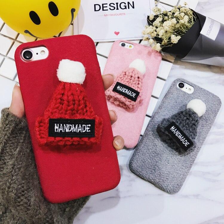 2017 New korea warm wool Plush Hat Phone Case for Iphone 6