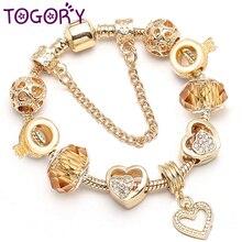 TOGORY дропшиппинг золотой цвет сердце браслет с подвеской Полые Любовь бусины прекрасный браслет и браслет для женщин Lover ювелирные изделия