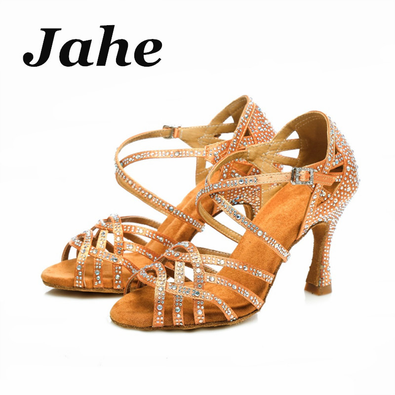 1eb1e95c574 New Latin Dance Shoes Women Salsa Shoes Flash Cloth Collocation Shine  Rhinestone 7cm 8.5cm 9cm