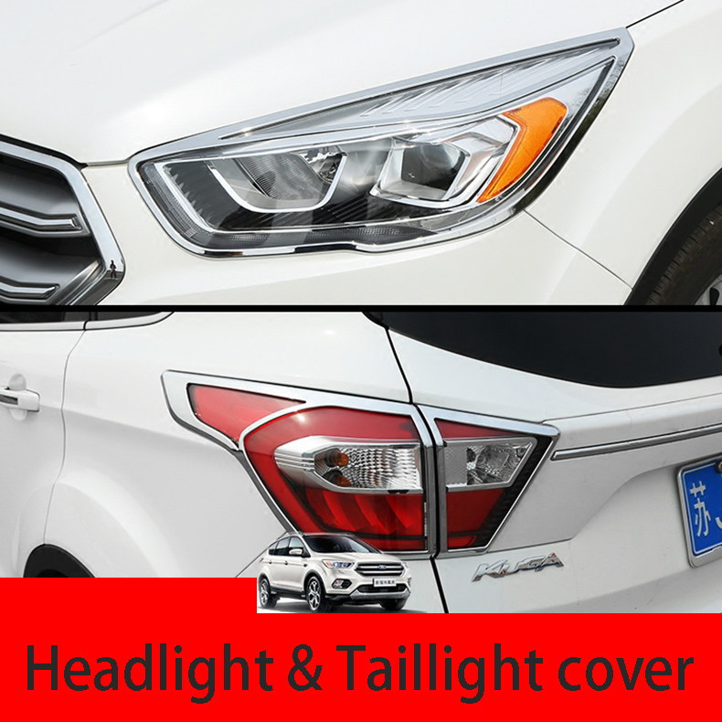 Fit For Ford Escape Kuga 2017 Chrome Front Rear Headlight Taillight Head Light Tail Lamp Cover Trim Molding Garnish Frame Bezel
