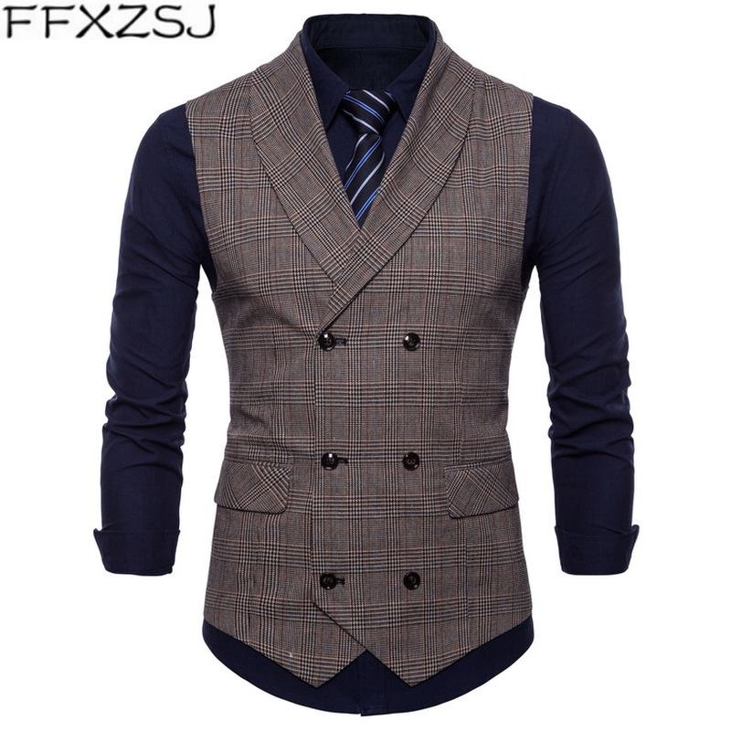 High Quality Men Suit Vest 2018 Slim Double Breasted Waistcoat Gilet Business Social Blazer Wedding Groom Best Men Plus Size 4XL
