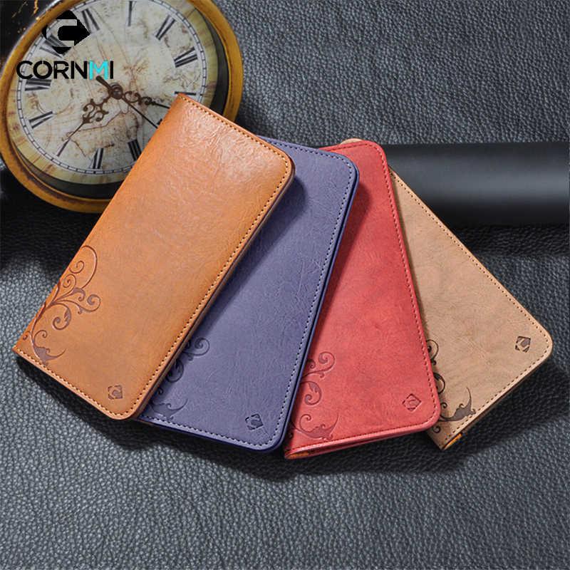 5.5 Universal Vintage Leather Flip Wallet Pouch For iPhone 8 7 Plus For Samsung S7 5.5 Inch Cell Phone Case CORNMI