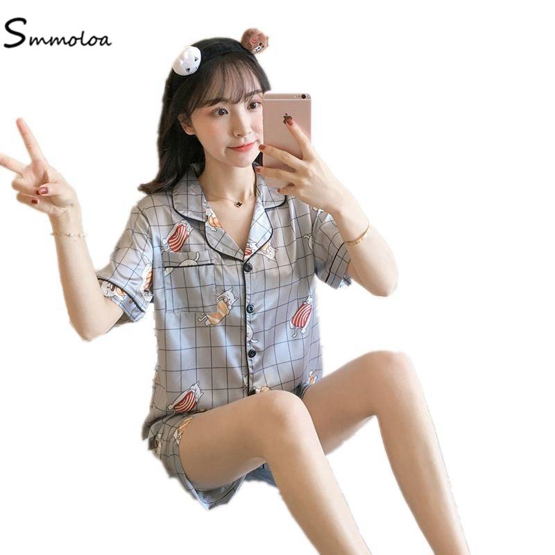 Smmoloa Women Silk Satin   Pajamas     Set   Print Pyjama   Set   Sleeve Sleepwear M-2XL