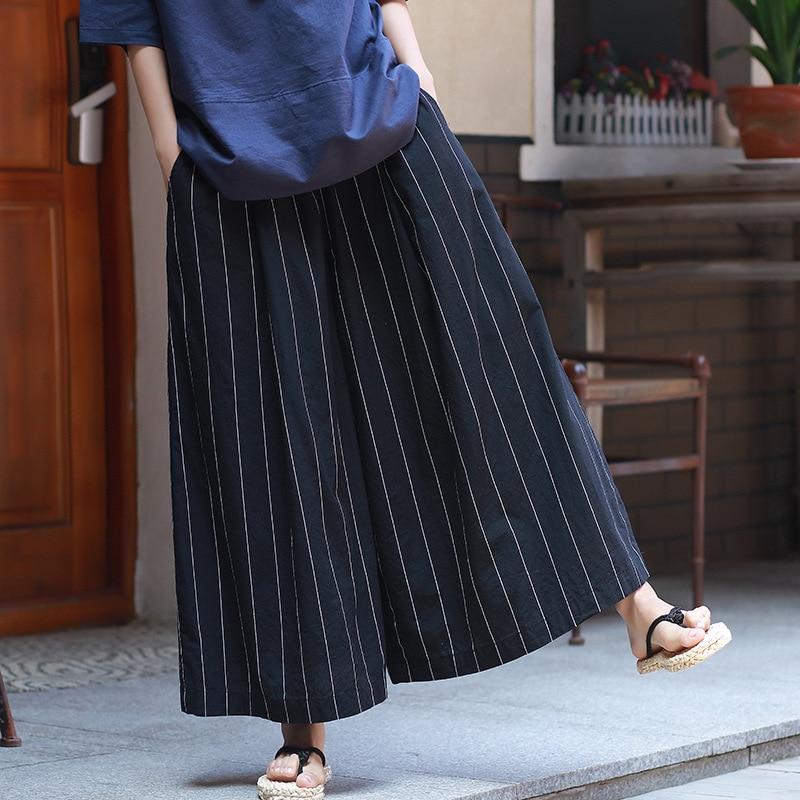 Johnature Striped   Wide     Leg     Pants   Loose Women Elastic Waist 2018 Summer New Pockets Cotton Linen Trouser Casual Vintage   Pants