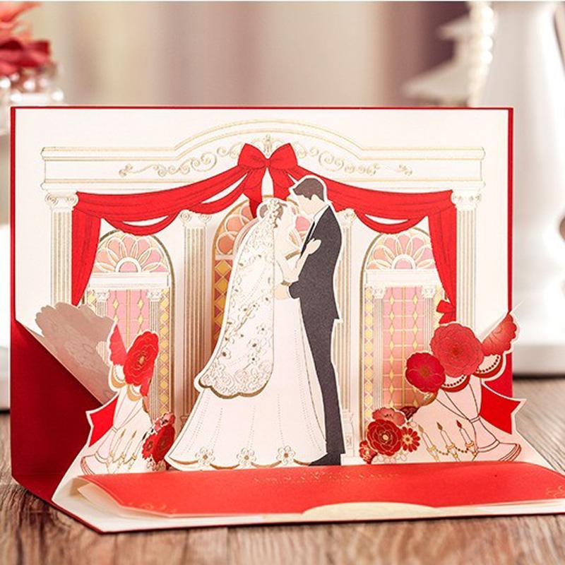 3D Verlobung Einladungskarten Rot Romantische Hochzeitseinladungen Mit  Freien Druck U0026 Umschläge Convites De Casamento 50 Teile
