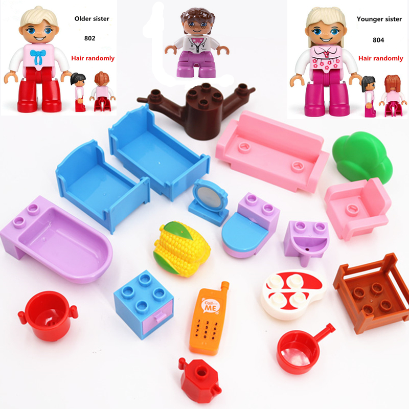 Diy Building Blocks Accessories Fantasy Sofa Bathroom Furniture Corn Ham Bricks Parts Duploed Toys For Children Gifts