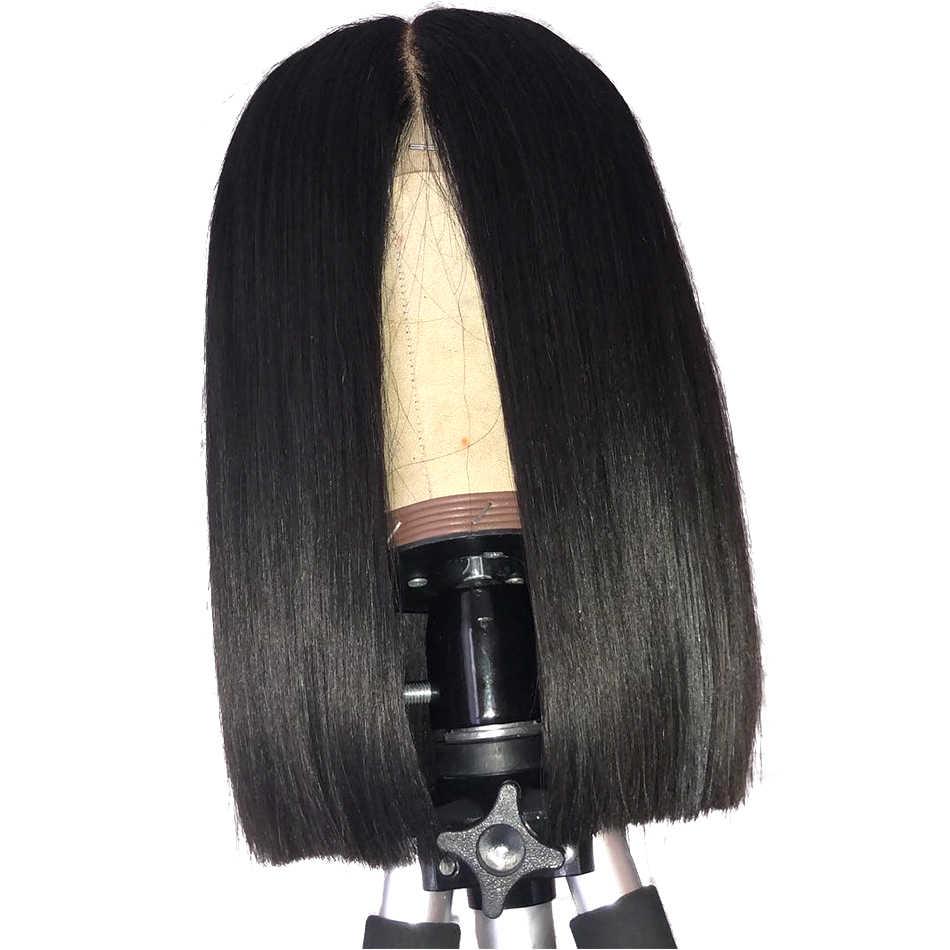 Wigirl волосы короткие 360 Кружева Фронтальная парик бразильского Прямые локоны парики для черный Для женщин предварительно сорвал с для волос