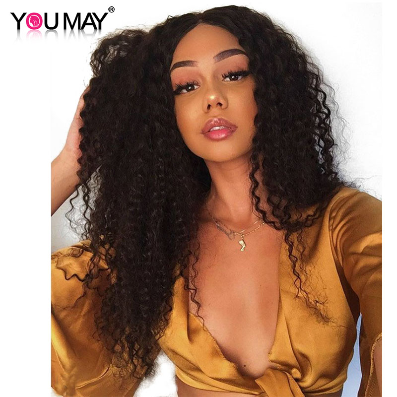 Curly 360 Lace Frontal Wig 150 Density Human Hair Wig Pre Plucked With Baby Hair For