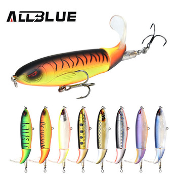 цена ALLBLUE Whopper Popper 9cm/11cm/13cm Topwater Fishing Lure Artificial Bait Hard Plopper Soft Rotating Tail Fishing Tackle Geer онлайн в 2017 году