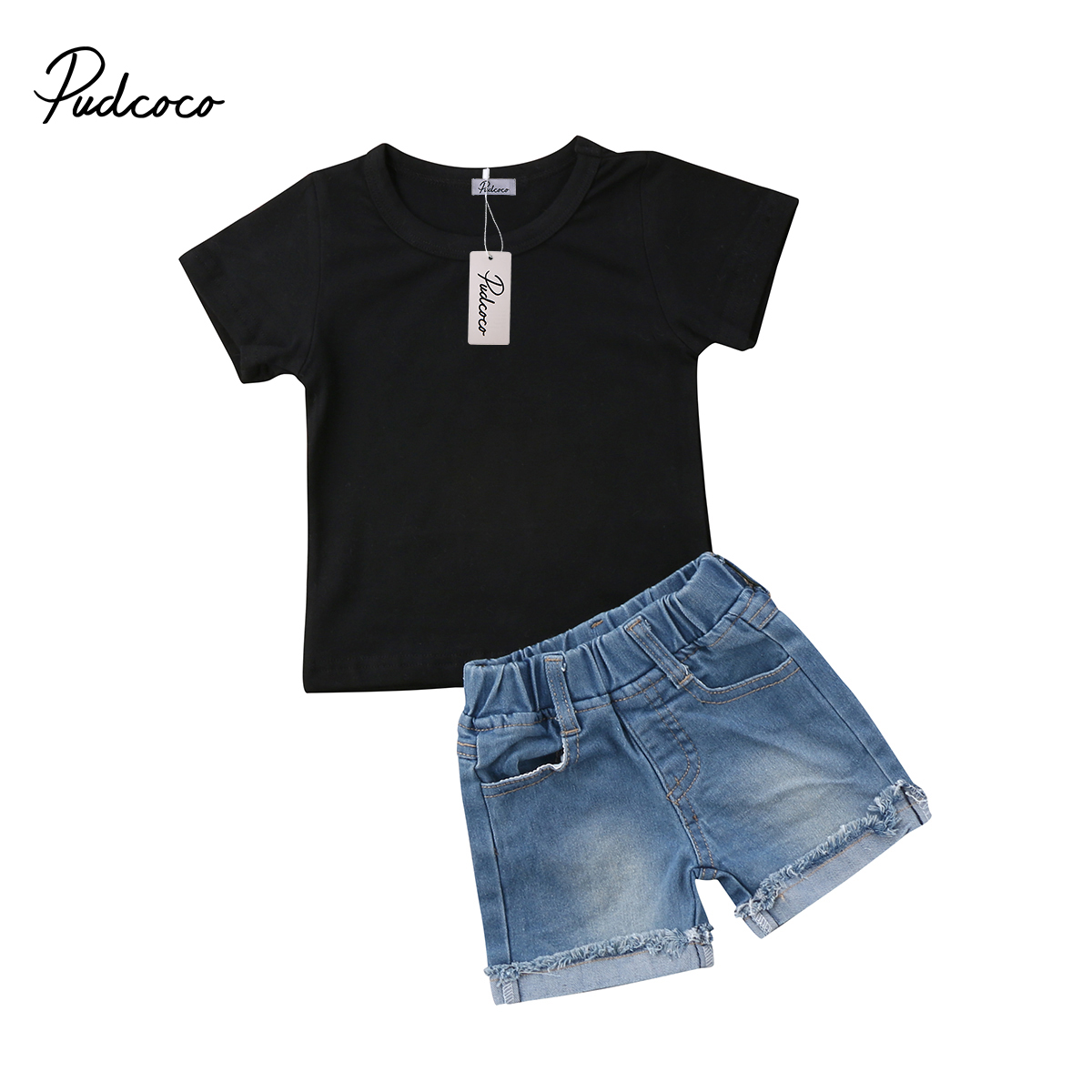 2018 Brand New Toddler Infant Casual Kids Baby Boys Short Sleeve Tops T-Shirt+Denim Shorts Jeans Children Summer Clothing 1-6T top brand men baggy jeans denim loose washing jeans men hip hop jeans boys casual skateboard relaxed fit jeans mens harem pants