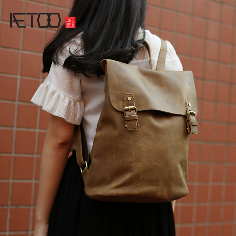 AETOO  Original handmade leather goods retro college wind Korean version of the flow of mad horse shoulder bag art casual backpa csikszentmihalyi m flow the psychology of optimal experience