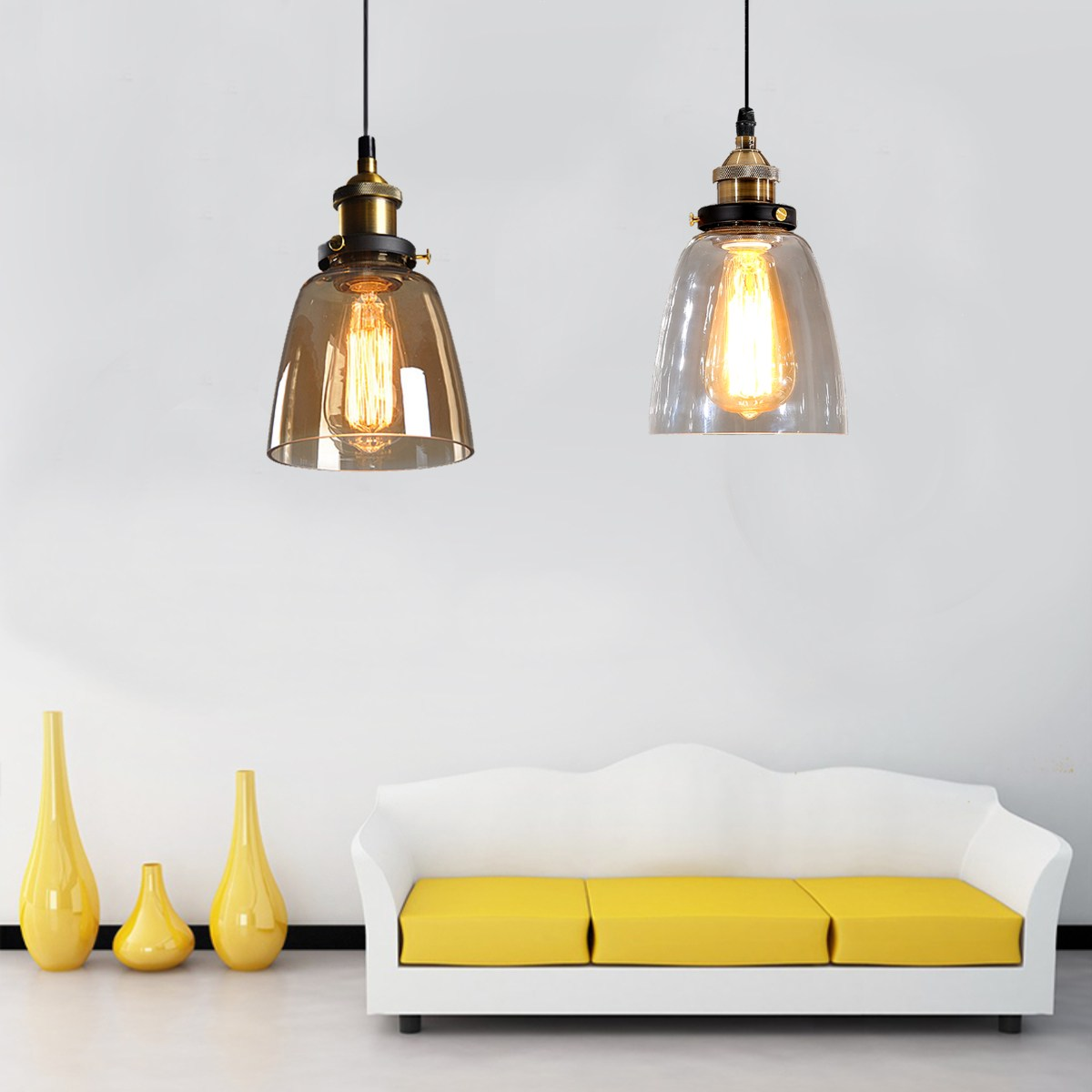 Retro Loft Glass Pendant Light Shade Hanging Industrial Lamp Clear Glass Home Restaurant Decoration High Quality