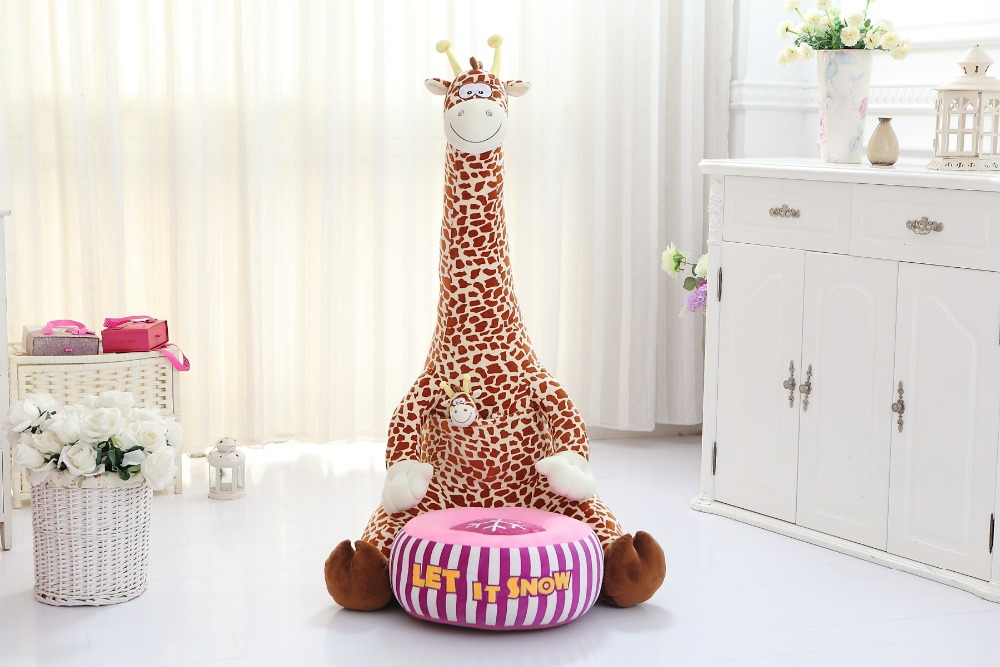 creative plush giraffe tatami big cartoon brown giraffe sofa children's sofa gift about 70cm free shipping lovely cartoon giraffe design 70x42cm sofa tatami plush toy floor seat cushion gift w5578