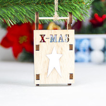 Christmas Sleigh Wooden Pendant Christmas Tree Decoration Pendant Christmas Ornament Small Ornament for Festive Party Home Decor цены