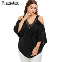 GIYI Plus Size 5xl 4xl Vintage Black Loose Blouse Shirt Women Clothing Studded V Neck Off