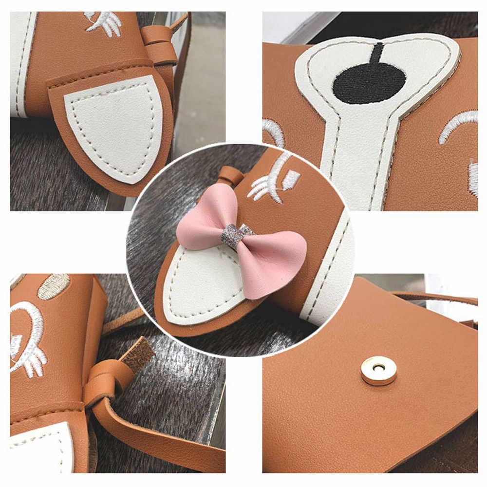 Crianças Bolsa de Ombro Bolsa de Couro Saco Mensagem para a Menina Animal Bonito Bowknote Bag Mini Crossbody Bag Bolsa Feminina # #