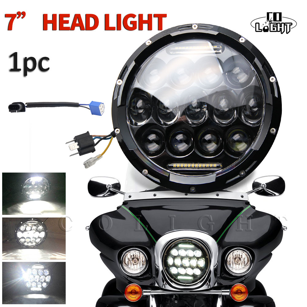CO LIGHT 1PCS 7 Inch 75W Round Led Headlight H4 Auto Motorcycle Projector For Jeep Harley Davidson Lada 4x4 Offroad VW 12V 24V co light 2pcs 7 inch led driving light 50w 30w h4 h13 led car headlight kit auto for jeep led head lamp bulbs dipped