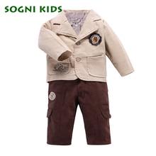 SOGNI ДЕТИ Мальчики комплект одежды пальто + футболка + брюки трех частей с длинными рукавами ребенок хлопок костюм для мальчиков весна одежды хорошего качества