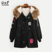 Dotfashion Faux Fur Lined Parka Woman Jacket And Coat 2017 Long Sleeve Embroidery Casual Top Black Zipper Winter Jacket
