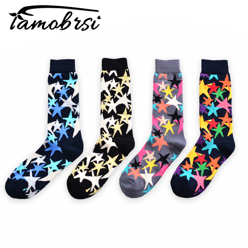 2018 Happy Socks Five Star Hit Color European American Personality Women Men Funny Socks Jacquard Short Cotton Male Socks