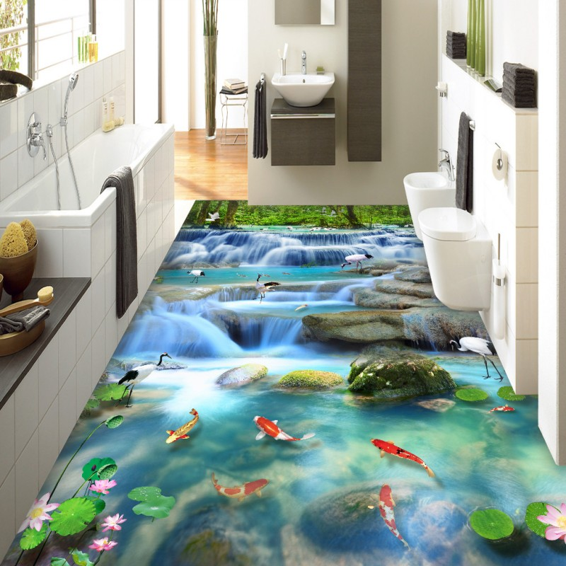 ФОТО Free Shipping Flowing water Health Tsuruoka carp waterfall 3D painting flooring wear non-slip bedroom lobby flooring mural