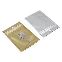 DHL Oro/Borrar Zip Lock Bolsa de Envasado De Plástico Pueden Volver A Cerrarse Agujero de la Caída de la cremallera Paquete Al Por Menor Poli Bolsa Joyería Artesanía Favor almacenamiento