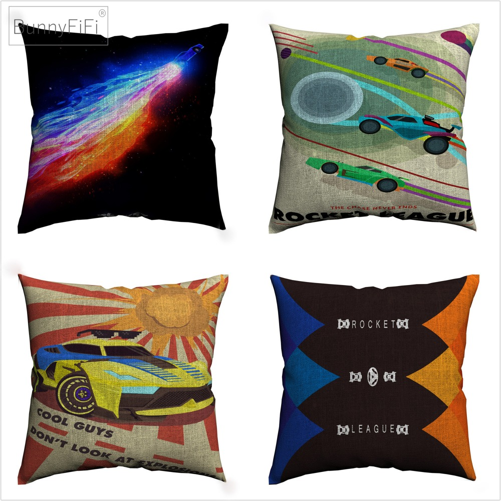 Rocket League Kids Video Game Decorative Linen Cushion Cover 45x45cm Pillowcase For Sofa Home Decor Throw Pillow Case Almofada