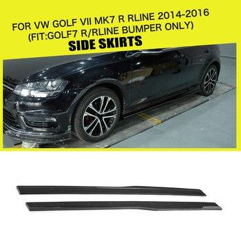 Car-Styling Carbon Fiber / FRP Racing Side Skirts Aprons Fits for Volkswagen VW Golf 7 VII MK7 R Hatchback 2014 - 2017