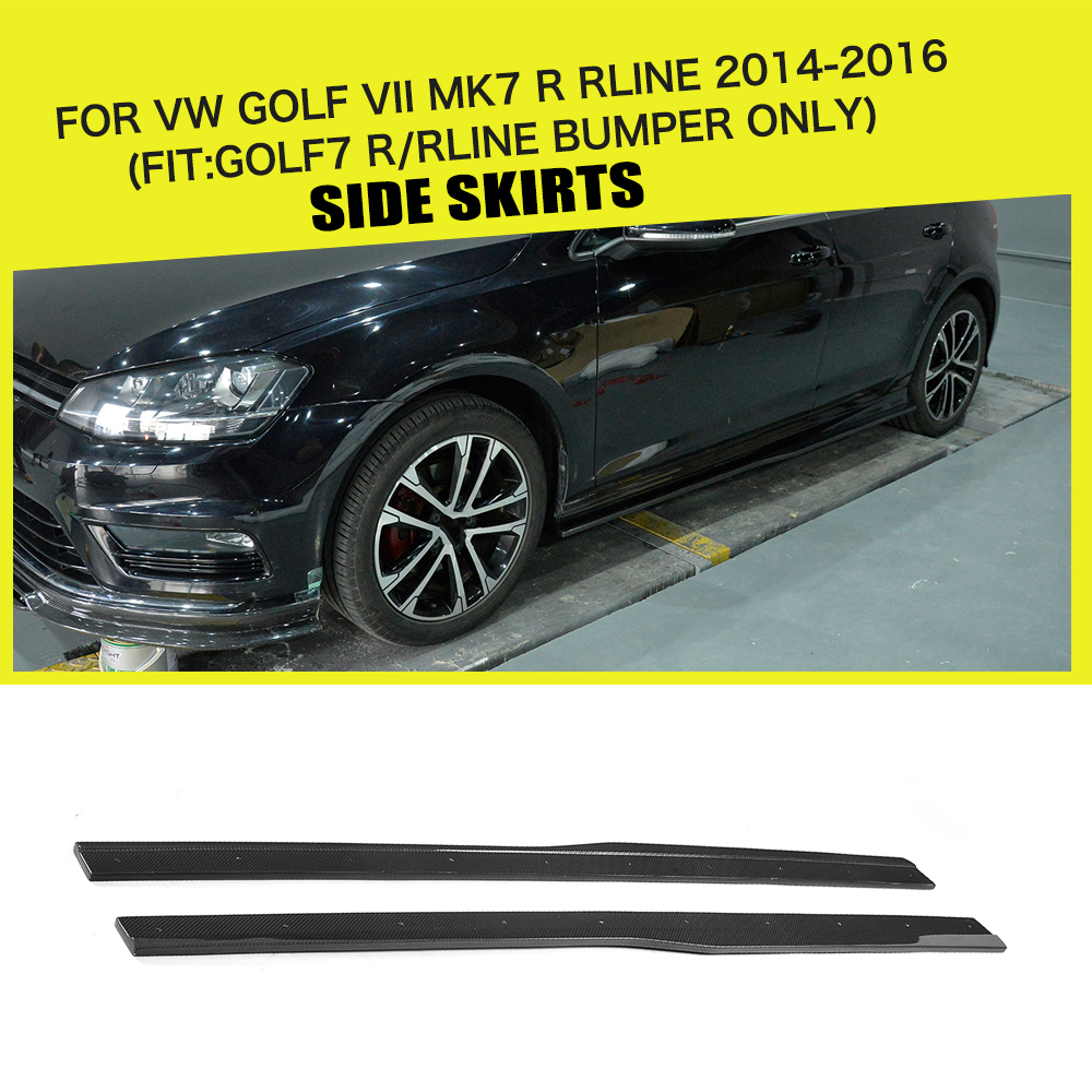 Car-Styling Carbon Fiber Racing Side Skirts Aprons Fits for Volkswagen VW Golf 7 VII MK7 R Hatchback 2014-2016