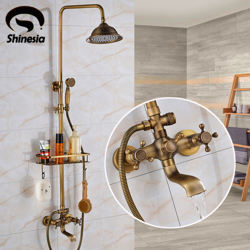 Antique Brass 8 inch Shower Head Bathroom Shower Faucet Sets Double Handles Mixer Tap with Storage Holder