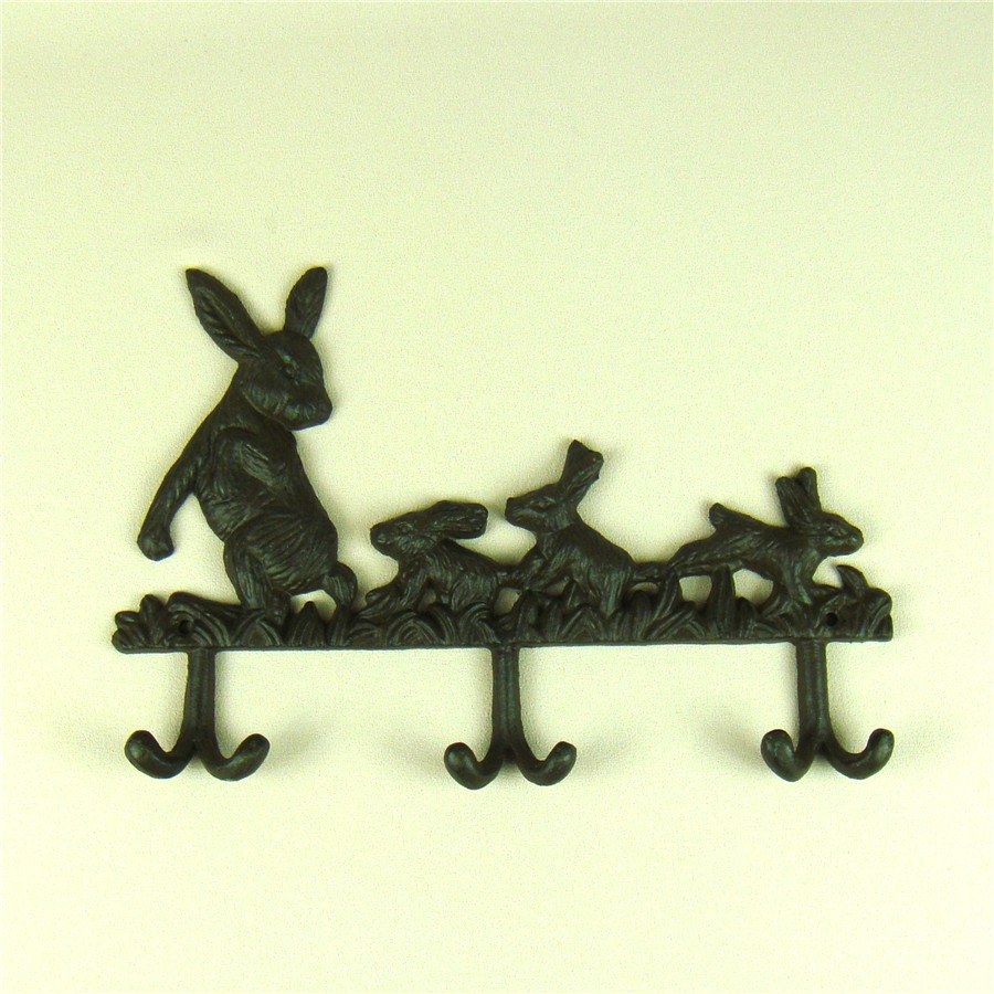 Creative Cast Iron Rabbit Figurine Clothes Hook Decorative Metal ...