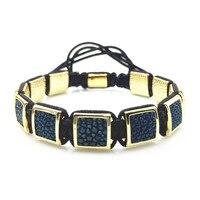 Stingray Leather Square Bead 10 10mm Shamballa Braided Macrame Charm Wrap Bracelet DIY Bracelets For Men