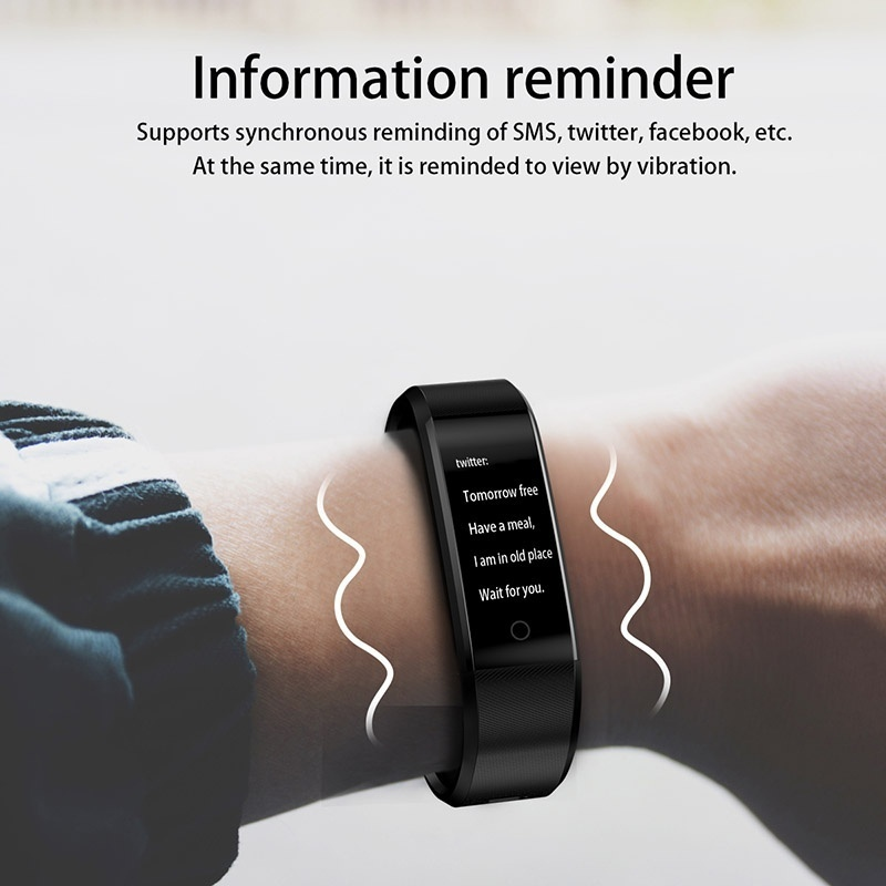 Smart Bracelet ID115Plus Sport Bluetooth Wristband Heart Rate Monitor Watch Activity Fitness Tracker Smart Band PK Mi band 2 in Smart Wristbands from Consumer Electronics