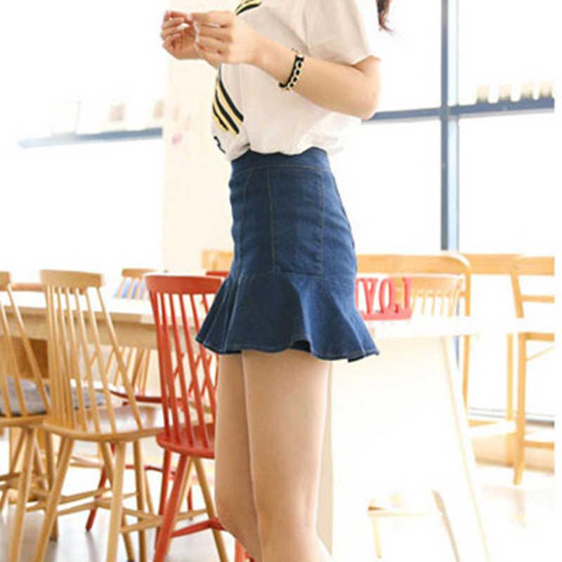 7a64f3368f1c95 2018 Women's Denim Short skirts High waist Him Ruffles Mini ladies Slim  Package hip dark blue