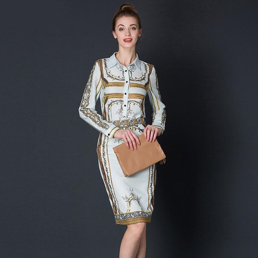 Printing shirt lapels cotton printed shirt + split skirt European fashion brand boutique Baroque totem temperament suit w1785