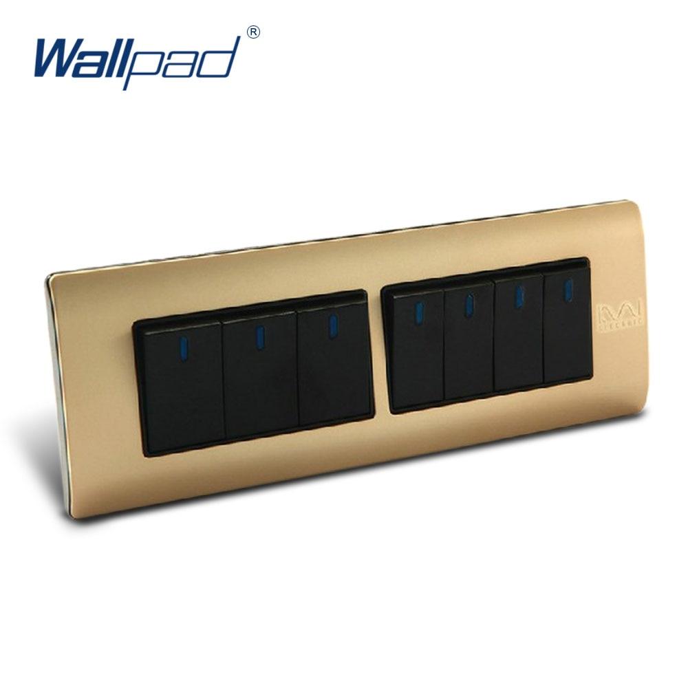 7 Gang 2 Way Switch Wallpad Luxury Wall Light Switch Panel 197*72mm 10A 110~250V  free shipping wallpad luxury wall switch panel 6 gang 2 way switch plug socket 197 72mm 10a 110 250v