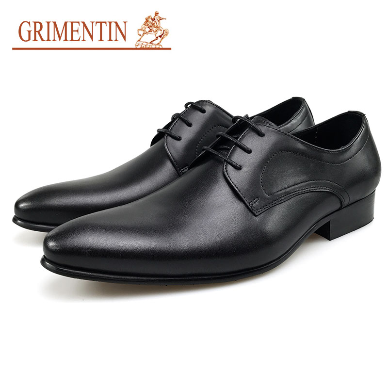 GRIMENTIN Wedding Dress Shoes Men Oxford Shoes For Men Genuine Leather Black Pointed Toe Lace Up Formal Business Shoes 2017 new oxford for men dress genuine leather black red office zapatos lace up pointed toe the trend of black leather shoes