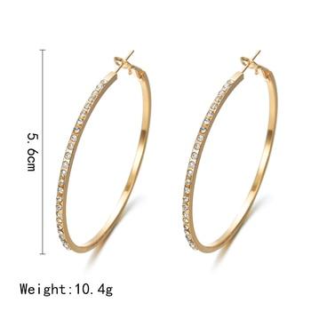 Fashion Hoop Earrings With Rhinestone Circle Earrings Big Circle Gold Color Earrings For Women 1