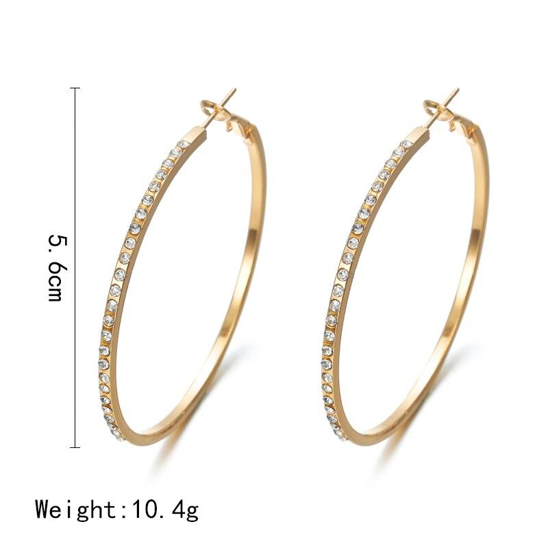 2018 Fashion Hoop Earrings With Rhinestone Circle Earrings Simple Earrings Big Circle Gold Color Loop Earrings
