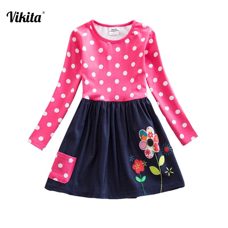 VIKITA Brand Girl Dresses Winter Autumn Flower Dresses Children Cotton Striped Straight Dresses Flower Cartoon Dress LH5748 Mix vikita brand new girl dresses 100% cotton girls butterfly cartoon dress toddlers summer short sleeve patchwork dresses sh4554