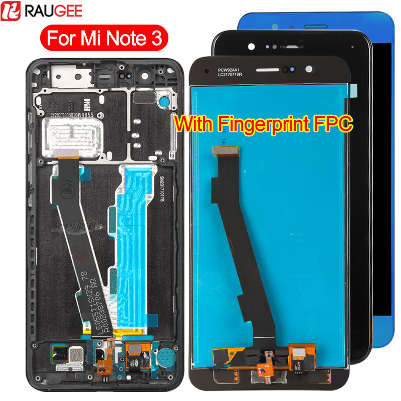 Display For Xiaomi Mi Note 3 LCD Display Touch Screen With Fingerprint FPC Digitizer Glass Panel