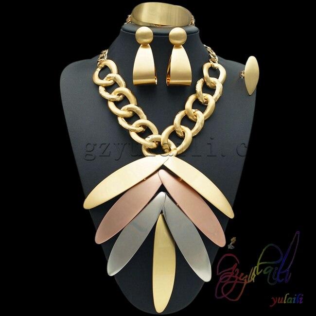 Yulaili 2017 en gros pas cher mode Dubai décoration bijoux ensembles or-couleur Rose or argent grande feuille forme pendentif collier