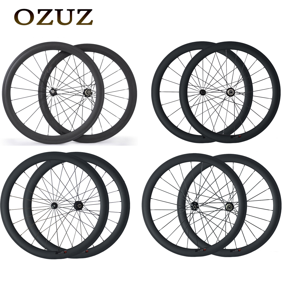 OZUZ carbon wheels 24 38 50 88 mm road bike straight pull clincher bicycle wheelset 700c 3k matte glossy wheelset free customs цена