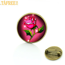 Tafree Fashion Merah Rose Bros Pin Film Pesona Wanita Pria Pernikahan Pesta Perhiasan Lencana Bros CT14(China)