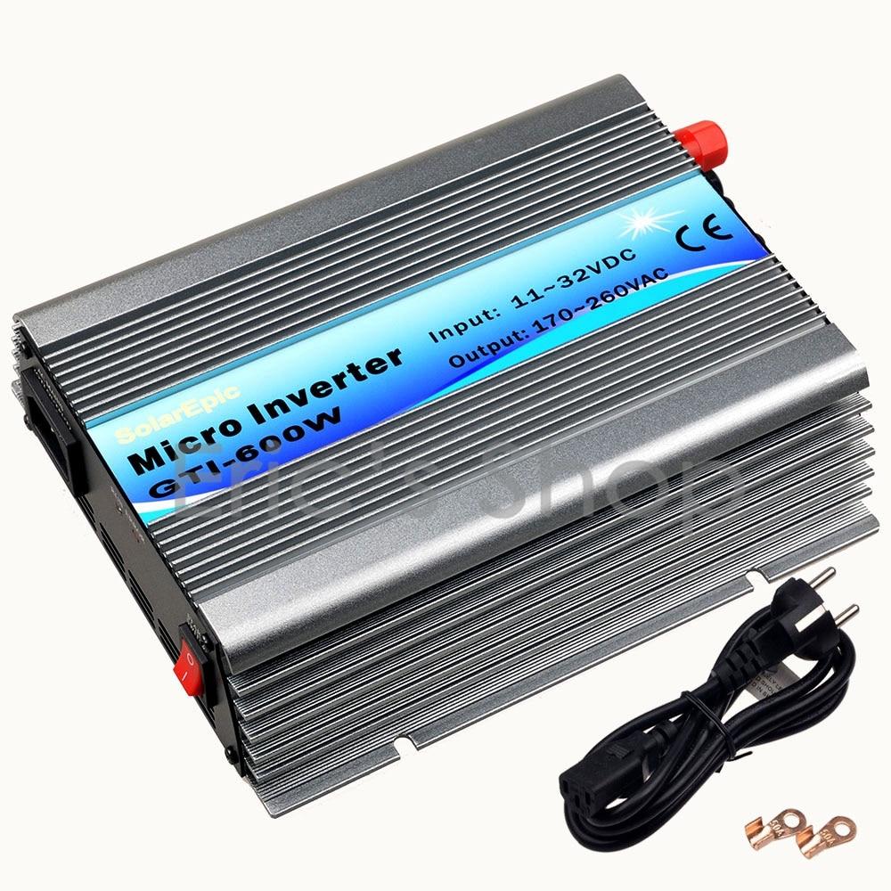 600W Grid Tie Inverter DC11V-32V to AC220V Pure Sine Wave Inverter For 18V Panel 36cells Frequency Converter 50/60HZ With MPPT 600w on grid tie inverter 18v panel 36cells 220v output dc to ac mppt function pure sine wave inverter