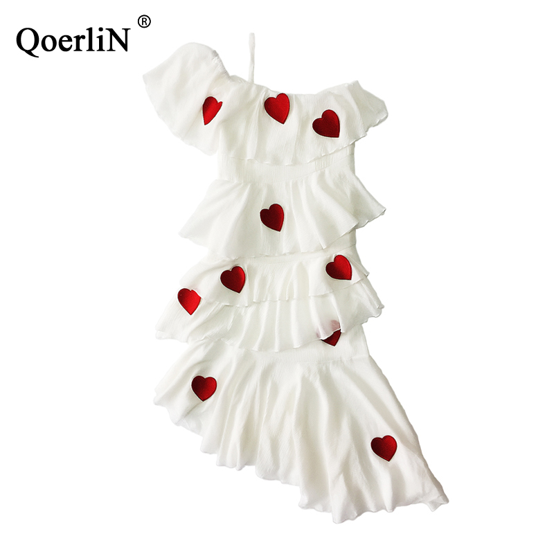 QoelriN 2019 New White Fairy Dress Temperament Sling Cake One shoulder Dress Cross Layer Dress Female
